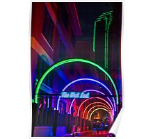 Dallas West End Neon Arches with Green Neon Building Poster