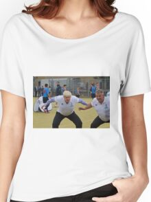 Boris Johnson playing rugby Women's Relaxed Fit T-Shirt