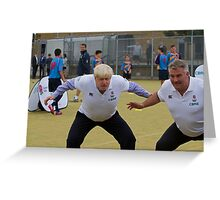 Boris Johnson playing rugby Greeting Card