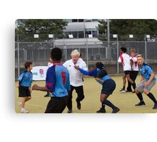 Boris Johnson playing rugby Canvas Print
