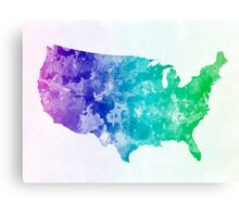 USA map in watercolor cold  Canvas Print
