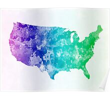 USA map in watercolor cold  Poster