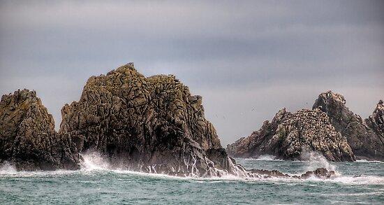 Waves Crashing on the Gannet Rocks by NeilAlderney