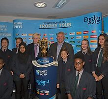 Boris Johnson with the Webb Ellis Trophy cup by Keith Larby
