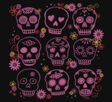 Mexican Pink Skulls by ArtVixen