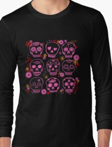Mexican Pink Skulls Long Sleeve T-Shirt