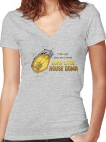 WHEN LIFE GIVES YOU LEMONS... Women's Fitted V-Neck T-Shirt