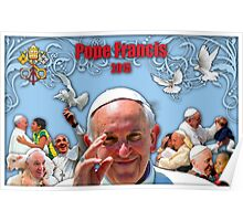 Pope Francis 2015 with blue background 3 Poster