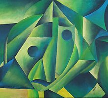 Cubist Abstract Of Village Woman Wearing A Headscarf by taiche