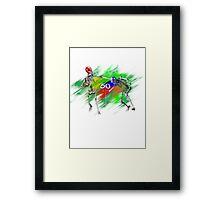 Skeletons playing football Framed Print