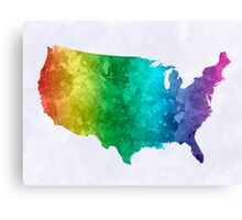 USA map in watercolor rainbow Canvas Print