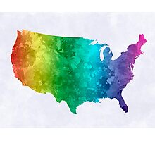 USA map in watercolor rainbow Photographic Print