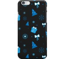 Christmas pattern with Christmas tree, gifts, bows and snowflakes on dark background iPhone Case/Skin