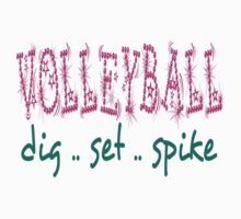 Volleyball Dig Set Spike (pink/green) Kids Tee