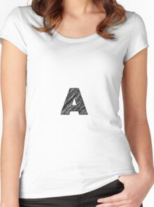 Sketchy Letter Series - Letter A Women's Fitted Scoop T-Shirt