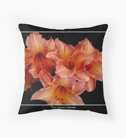 Lilies: Pink and Orange Throw Pillow