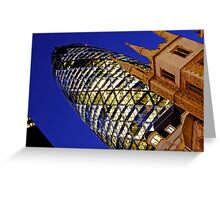 London Gherkin in a Blue Night Greeting Card