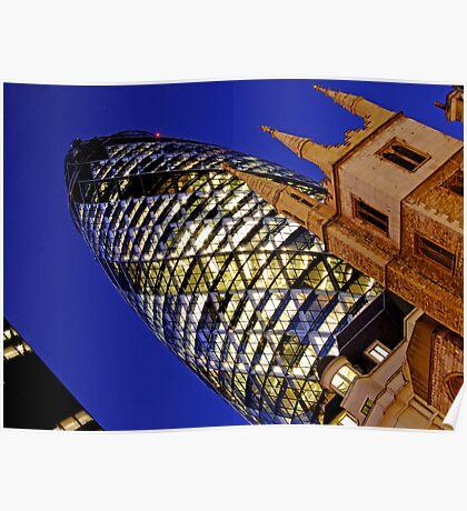 London Gherkin in a Blue Night Poster