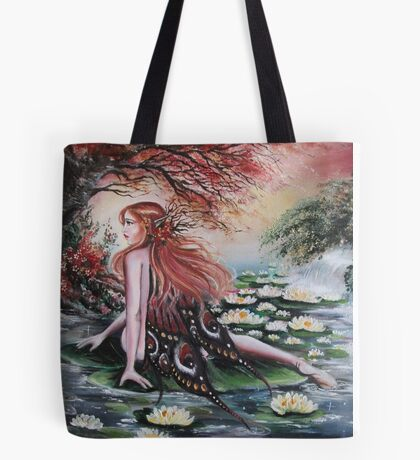 Autumn fall faerie fairy weeping willow, waterlily Tote Bag