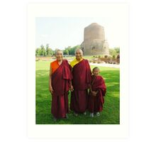 Venerable Khenchen Palden Sherab Rinpoche, Venerable Khenpo Tsewang Dongyal Rinpoche and Pema Art Print