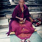 Monk in Bodh Gaya by dcphotos