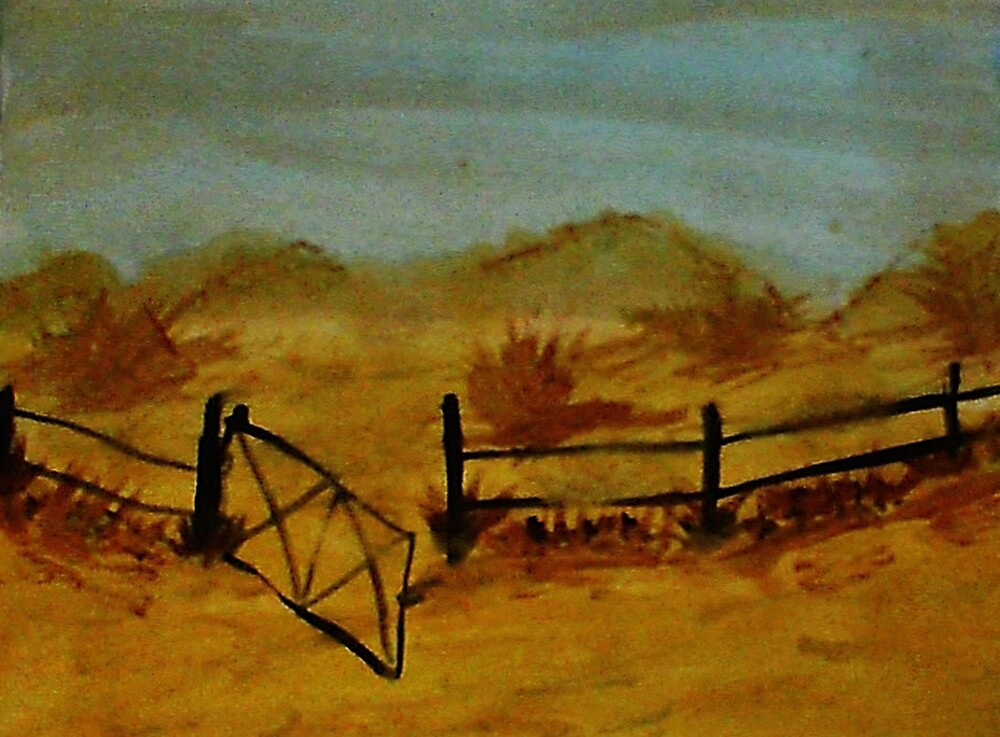 Opps Gate was Left Open! watercolor by Anna  Lewis, blind artist
