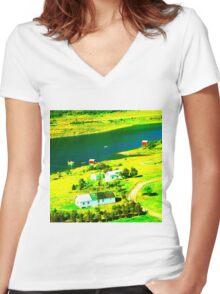 Riverside Bleach Women's Fitted V-Neck T-Shirt