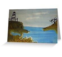 Lighthouse Over Looking the Cove, watercolor Greeting Card
