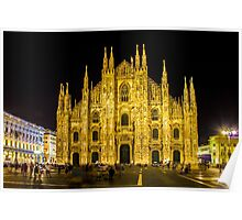 Milan cathedral by Night Poster