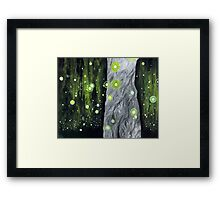 Lightning Bugs Behind a Curtain of Willow Tears Framed Print