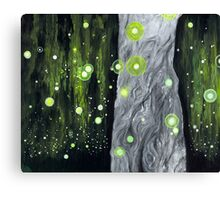 Lightning Bugs Behind a Curtain of Willow Tears Canvas Print