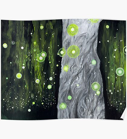 Lightning Bugs Behind a Curtain of Willow Tears Poster