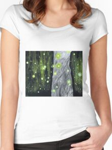 Lightning Bugs Behind a Curtain of Willow Tears Women's Fitted Scoop T-Shirt