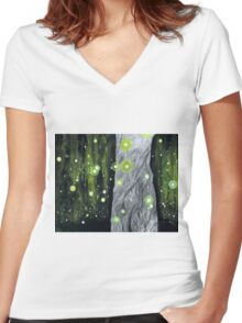 Lightning Bugs Behind a Curtain of Willow Tears Women's Fitted V-Neck T-Shirt