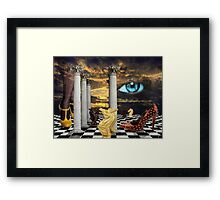 The game of chess with a red shoe in a surreal dream Framed Print