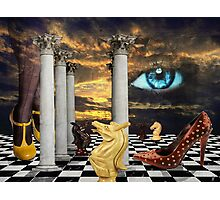 The game of chess with a red shoe in a surreal dream Photographic Print
