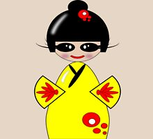 Kokeshi Doll Tee & Sticker Womens Fitted T-Shirt