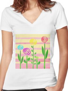 Lollipop Garden Women's Fitted V-Neck T-Shirt