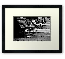 benches in row Framed Print