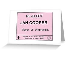 Pawnee re-elects Jan Cooper Greeting Card