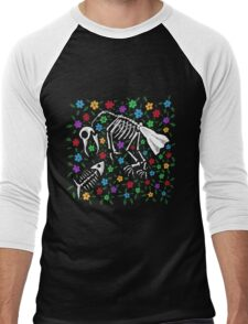 Bird and Fish Skeletons on Bed of Flowers Men's Baseball ¾ T-Shirt