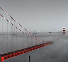 Golden Gate Bridge — Black and Red by Alex Eckermann