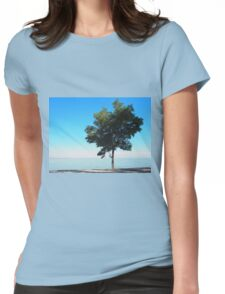 Lonely tree with green leaves on the coast  Womens Fitted T-Shirt