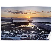 Seahouses Sunset Poster