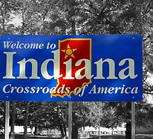 Indiana Welcome Sign  by Chris L Smith