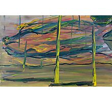 Abstract Desert Landscape with reptile snout oil painting Photographic Print