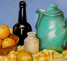 Green Coffee Pot with Oranges by Jude Allman