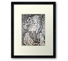 Girl and Rabbits Framed Print