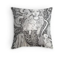 Girl and Rabbits Throw Pillow