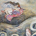 Flying Girl With Bird by Deborah Conroy